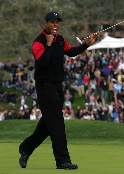LA JOLLA, CA - JANUARY 27:  Tiger Woods reacts after making a birdie putt on the 11th hole during the final round of the Buick Invitational at the Torrey Pines Golf Course on January 27, 2008 in La Jolla, California.  (Photo by Jeff Gross/Getty Images)