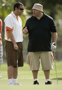 Adam Sandler and Kevin James during the 2007 Sony Open Pro-Am at Waialae Country Club in Honolulu, Hawaii on January 10, 2007. PGA TOUR - 2007 Sony Open - Pro-AmPhoto by Sam Greenwood/WireImage.com