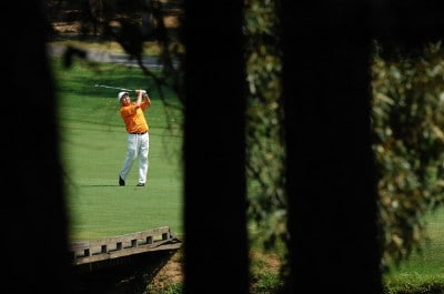 Billy Mayfair hits a shot from the third fairway during the third round of the Wyndham Championship at Forest Oaks Country Club on August 18, 2007 in Greensboro, North Carolina. PGA TOUR - 2007 Wyndham Championship - Third RoundPhoto by Jonathan Ernst/WireImage.com