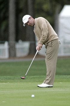 Thomas Levet putts for a birdie on the 9th green during the first round of the MCI Heritage at Harbour Town Golf Links April 14, 2005, at Hilton Head Island.  Levet saved par to finish in second place with a seven under par 64.Photo by Al Messerschmidt/WireImage.com