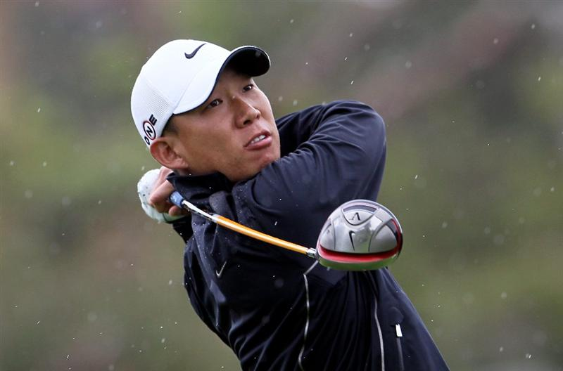 PACIFIC PALISADES, CA - FEBRUARY 06:  Anthony Kim hits a tee shot on the second hole during the third round of the Northern Trust Open at Riviera Country Club on February 6, 2010 in Pacific Palisades, California.  (Photo by Jeff Gross/Getty Images)