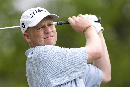 Kevin Durkin watches his tee shot during the Rheem Classic at Hardscrabble Country Club in Fort Smith, Arkansas on Friday May 13, 2005. Durkin was the leader after the first round but finished 1 under and tied for 21st after the second round.Photo by Wesley Hitt/WireImage.com