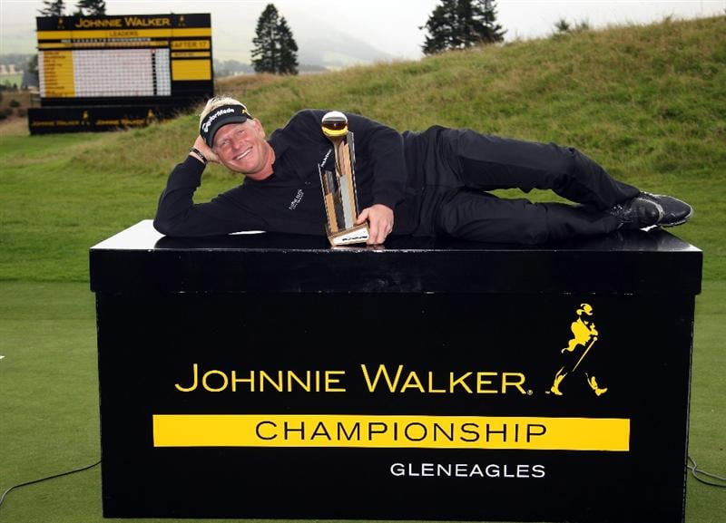 AUCHTERARDER, SCOTLAND - AUGUST 30:  Peter Hedblom of Sweden with the winners trophy after the final round of the Johnnie Walker Championship on the PGA Centenary Course at Gleneagles on August 30, 2009 in Auchterarder, Scotland.  (Photo by Ross Kinnaird/Getty Images)