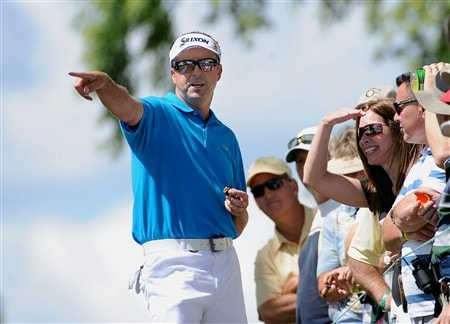 BLOOMFIELD HILLS, MI - AUGUST 08:  Robert Allenby of Australia talks with fans during round two of the 90th PGA Championship at Oakland Hills Country Club on August 8, 2008 in Bloomfield Township, Michigan.  (Photo by Sam Greenwood/Getty Images)