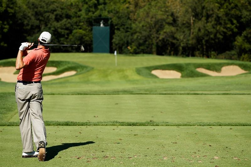 LEMONT, IL - SEPTEMBER 10:  Matt Kuchar tees off on the 12th hole during the second round of the BMW Championship at Cog Hill Golf & Country Club on September 10, 2010 in Lemont, Illinois.  (Photo by Scott Halleran/Getty Images)