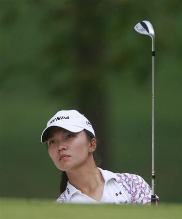 ROGERS, AR - SEPTEMBER 12:  Teresa Lu of Taiwan hits from the sand on the ninth hole during second round play in the P&G Beauty NW Arkansas Championship at the Pinnacle Country Club on September 12, 2009 in Rogers, Arkansas.  (Photo by Dave Martin/Getty Images)