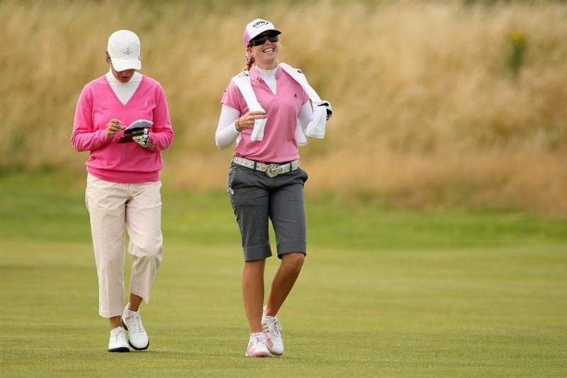 LYTHAM ST ANNES, UNITED KINGDOM - JULY 31:  Paula Creamer of USA walks with Catriona Matthew (L) of Scotland on the 16th hole during the second round of the 2009 Ricoh Women's British Open Championship held at Royal Lytham St Annes Golf Club, on July 31, 2009 in  Lytham St Annes, England. (Photo by Warren Little/Getty Images)