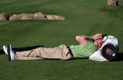 D. J. Trahan rests on the fifth hole during the fourth round of the 49th Bob Hope Chrysler Classic at the PGA West Arnold Palmer Private Course on January 19, 2008 in La Quinta, California. PGA TOUR - 2008 Bob Hope Chrysler Classic - Round FourPhoto by Harry How/Getty Images