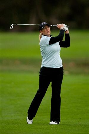 DANVILLE, CA - OCTOBER 17: Cristie Kerr follows through on an approach shot during the final round of the CVS/Pharmacy LPGA Challenge at Blackhawk Country Club on October 16, 2010 in Danville, California. (Photo by Darren Carroll/Getty Images)