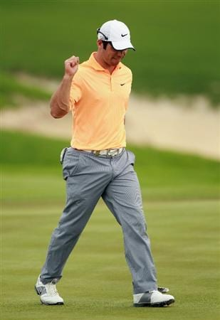BAHRAIN, BAHRAIN - JANUARY 29:  Paul Casey of England celebrates after his eagle on the 13th hole during the third round of the Volvo Golf Champions at The Royal Golf Club on January 29, 2011 in Bahrain, Bahrain.  (Photo by Andrew Redington/Getty Images)