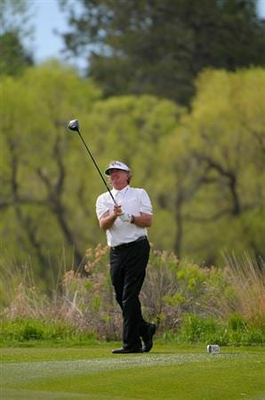 PARKER, CO. - MAY 27:   Tommy Armour III tees off the 13th hole during the first round of the Senior PGA Championship at the Colorado Golf Club  on May 27, 2010 in Parker, Colorado.  (Photo by Marc Feldman/Getty Images)