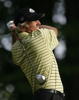 DULUTH, GA - MAY 16:  Greg Norman hits his tee shot on the third hole during the second round of the AT&T Classic at TPC Sugarloaf on May 16, 2008 in Duluth, Georgia.  (Photo by Matt Sullivan/Getty Images)