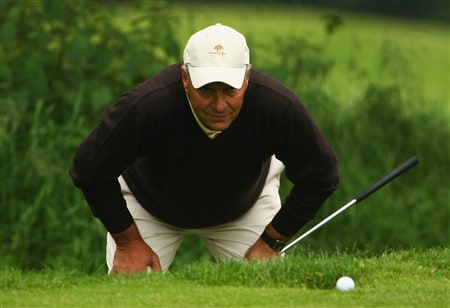 NORTHAMPTON, UNITED KINGDOM - MAY 30:  Donald Stirling lines up a putt on the 3rd green during the Senior PGA Professional Championships at Northampton County Golf Club on May 30, 2008 in Northampton, England.  (Photo by Matthew Lewis/Getty Images)