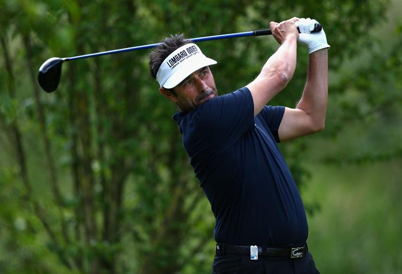 ST OMER, FRANCE - JUNE 18:  Jean Van De Velde of France hits a tee shot during Round One of the Open de St Omer at the AA St Omer Golf Club on June 18, 2009 in St Omer, France.  (Photo by Ryan Pierse/Getty Images)
