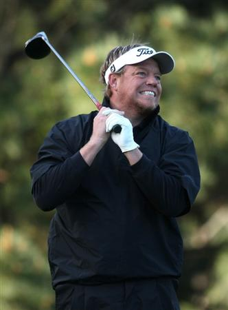 PEBBLE BEACH, CA - FEBRUARY 13: Singer Pat Green watches his tee shot on the 10 hole at Poppy Hills Golf Course during the second round of the the AT&T Pebble Beach National Pro-Am on February 13, 2009 in Pebble Beach, California. (Photo by Stephen Dunn/Getty Images)
