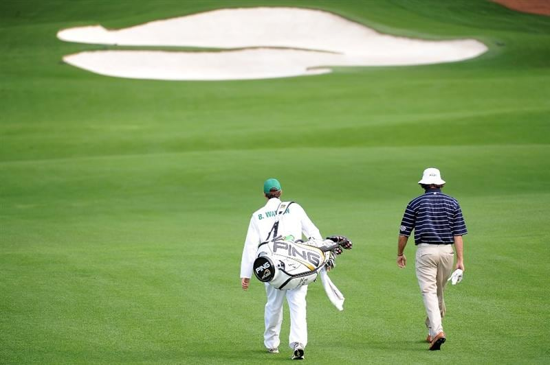 AUGUSTA, GA - APRIL 06:  Bubba Watson (R) walks with his caddie during a practice round prior to the 2009 Masters Tournament at Augusta National Golf Club on April 6, 2009 in Augusta, Georgia.  (Photo by Harry How/Getty Images)