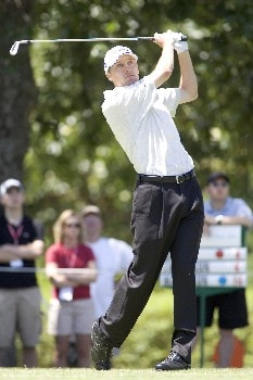 Aaron Barber hits a tee shot during the fourth round of the Rheem Classic at Hardscrabble Country Club in Fort Smith, AR, May 15, 2005. Barber finished at -9 and tied for third for the tournament.Photo by Wesley Hitt/WireImage.com