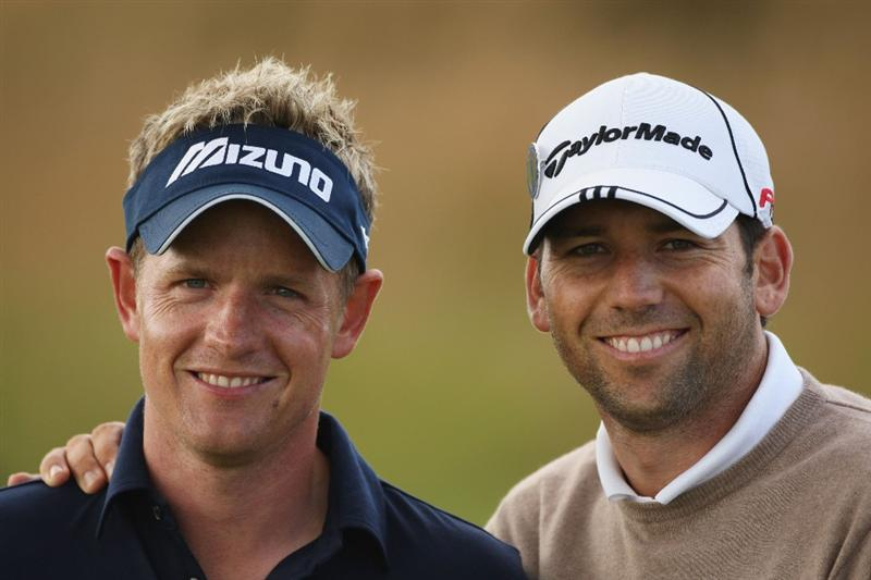 TURNBERRY, SCOTLAND - JULY 14:  Sergio Garcia (R) of Spain and Luke Donald of England pose together during a practice round prior to the 138th Open Championship on the Ailsa Course, Turnberry Golf Club on July 14, 2009 in Turnberry, Scotland.  (Photo by Warren Little/Getty Images)