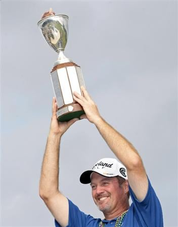 AVONDALE, LA - APRIL 26:  Jerry Kelly poses with the trophy after his win during the final round of the Zurich Classic at TPC Louisiana on April 26, 2009  in Avondale, Louisiana. (Photo by Dave Martin/Getty Images)