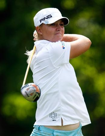 BETHLEHEM, PA - JULY 10:  Anna Nordqvist of Sweden hits her tee shot on the 15th hole during the second round of the 2009 U.S. Women's Open at the Saucon Valley Country Club on July 10, 2009 in Bethlehem, Pennsylvania.  (Photo by Scott Halleran/Getty Images)