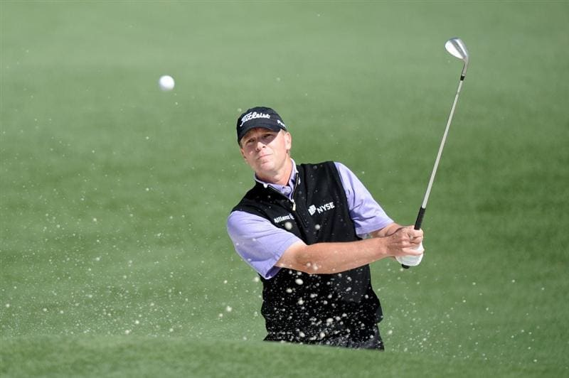 AUGUSTA, GA - APRIL 09:  Steve Stricker plays a shot from a bunker on the second hole during the second round of the 2010 Masters Tournament at Augusta National Golf Club on April 9, 2010 in Augusta, Georgia.  (Photo by Harry How/Getty Images)