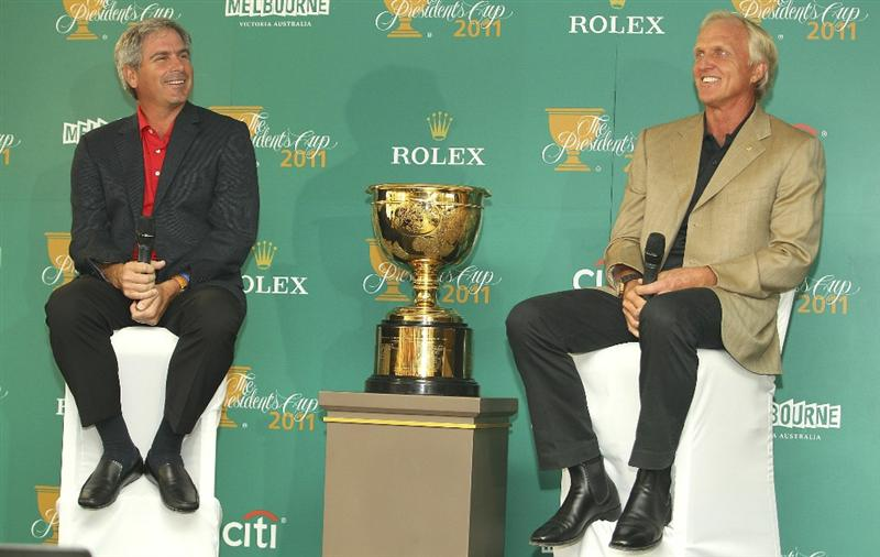 MELBOURNE, AUSTRALIA - NOVEMBER 29:  Fred Couples of the United States and Greg Norman of Australia talk to the media during the press conference during Presidents Cup Captains Day at Royal Melbourne Gof Course on November 29, 2010 in Melbourne, Australia.  (Photo by Lucas Dawson/Getty Images)