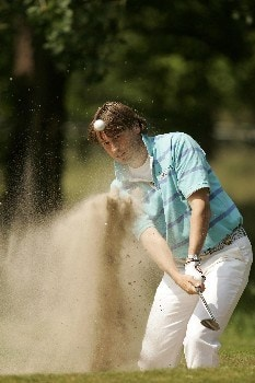 Robert-Jan Derksen blasts out of the bunker during the first round of the 2005 KLM Open at Hilversumsche Golf Club. June 9, 2005Photo by Pete Fontaine/WireImage.com