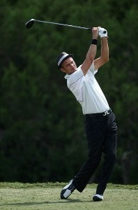 Jesper Parnevik tees off on the ninth hole during the third round of the Valero Texas Open at La Cantera Golf Club on October 6, 2007 in San Antonio, Texas. PGA TOUR - 2007 Valero Texas Open - Third RoundPhoto by Jonathan Ferrey/WireImage.com