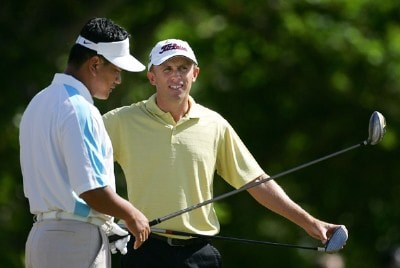 K. J. Choi (L) of South Korea talks with Tim Wilkinson of New Zealand on the first tee during the final round of the Sony Open at the Waialae Country Club January 13, 2008 in Honolulu, Oahu, Hawaii. PGA TOUR - 2008 Sony Open in Hawaii - Final RoundPhoto by Jonathan Ferrey/WireImage.com