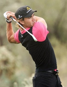 MARANA, AZ - FEBRUARY 20:  Camilo Villegas of Columbia hits his tee shot on the third hole during the first round matches of the WGC-Accenture Match Play Championship at The Gallery at Dove Mountain on February 20, 2008 in Marana, Arizona.  (Photo by Scott Halleran/Getty Images)