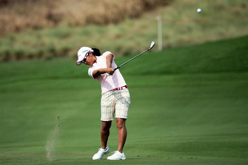 BANGKOK, THAILAND - FEBRUARY 27:  Ai Miyazato of Japan plays her 2nd shot on the 18th hole during day two of the Honda LPGA Thailand 2009 at Siam Country Club Plantation on February 27, 2009 in Pattaya, Chonburi, Thailand. (Photo by Chumsak Kanoknan/Getty Images)