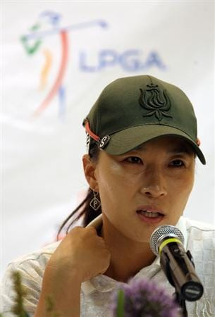 SPRINGFIELD, IL - JUNE 04:  Se Ri Pak of South Korea speaks during a press conference following the first round of the LPGA State Farm Classic golf tournament at Panther Creek Country Club on June 4, 2009 in Springfield, Illinois.  (Photo by Christian Petersen/Getty Images)