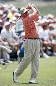 Tom Jenkins hits a tee shot during the first round of the U.S. Senior Open at Prairie Dunes Country Club in Hutchinson,  Kansas on July 6, 2006.Photo by G. Newman Lowrance/WireImage.com