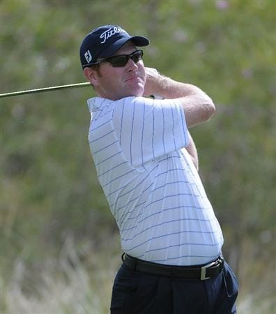 LAS VEGAS, NV- OCTOBER 18:  Troy Matteson tees off the 3rd hole during the fourth and final  round of the Justin Timberlake Shriners Hospitals for Childeren Open at the TPC Summerland on October 18, 2009  in Las Vegas, Nevada. (Photo by Marc Feldman/Getty Images)