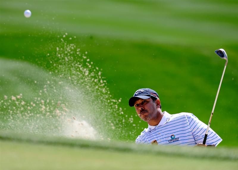 MARANA, AZ - FEBRUARY 19:  Jeev Milkha Singh of India plays his bunker shot on the fourth hole during round three of the Accenture Match Play Championship at the Ritz-Carlton Golf Club on February 19, 2010 in Marana, Arizona.  (Photo by Stuart Franklin/Getty Images)