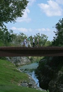 Richard S. Johnson and Greg Owen walk over the bridge on the 12th hole during the first round Mayakoba Golf Classic at El Camaleon at Mayakoba in Playa Del Carmen, Mexico on February 22, 2007. PGA TOUR - 2007 Mayakoba Golf Classic - First RoundPhoto by Mike Ehrmann/WireImage.com
