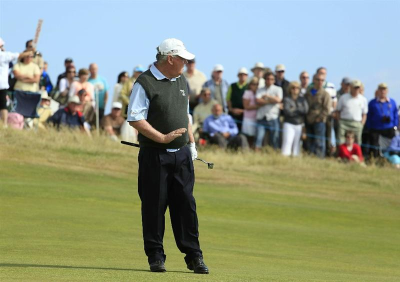 PORTHCAWL, WALES - JUNE 20:  John Bland of South Africa in action during the final round of the Ryder Cup Wales Seniors Open played at Royal Porthcawl Golf Club on June 20, 2010 in Porthcawl, Wales.  (Photo by Phil Inglis/Getty Images)