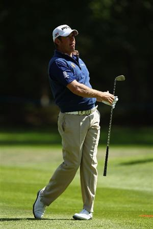 VIRGINIA WATER, ENGLAND - MAY 25:  Lee Westwood of England hits an approach shot during the Pro-Am round prior to the BMW PGA Championship at Wentworth Club on May 25, 2011 in Virginia Water, England.  (Photo by Richard Heathcote/Getty Images)