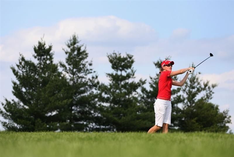 SPRINGFIELD, IL - JUNE 05:  Stephanie Louden hits her tee shot on the 17th hole during the second round of the LPGA State Farm Classic golf tournament at Panther Creek Country Club on June 5, 2009 in Springfield, Illinois.  (Photo by Christian Petersen/Getty Images)