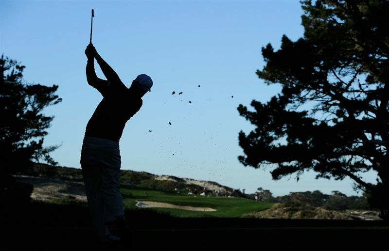 PEBBLE BEACH, CA - FEBRUARY 12:  Nick Watney plays his tee shot on the second hole during the third round of the AT&T Pebble Beach National Pro-Am at the Spyglass Hil Golf Course on February 11, 2011  in Pebble Beach, California  (Photo by Stuart Franklin/Getty Images)