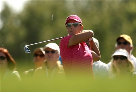 RANCHO MIRAGE, CA - APRIL 06: Annika Sorenstam of Sweden hits her tee shot on the fifth hole during the final round of the Kraft Nabisco Championship at Mission Hills Country Club on April 6, 2008 in Rancho Mirage, California.  (Photo by Stephen Dunn/Getty Images)