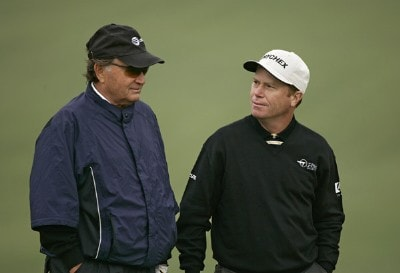 Raymond Floyd and Jeff Sluman during the second round of the 2007 Masters at the Augusta National Golf Club in Augusta,  Georgia, on April 6, 2007. The 2007 Masters - Second RoundPhoto by Sam Greenwood/WireImage.com