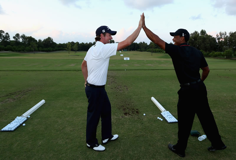 Webb Simpson and Tiger Woods