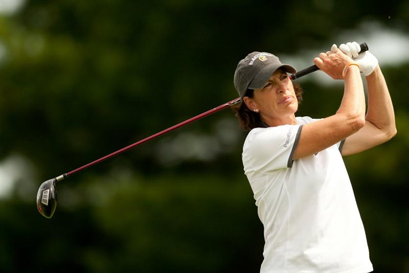 SPRINGFIELD, IL - JUNE 10: Juli Inkster follows through on a tee shot during the first round of the LPGA State Farm Classic at Panther Creek Country Club on June 10, 2010 in Springfield, Illinois. (Photo by Darren Carroll/Getty Images)