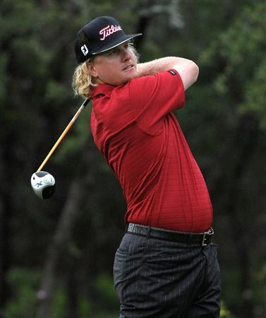 SAN ANTONIO, TX - MAY 15: Charley Hoffman tees off the 1st hole  during the second round of the Valero Texas Open at the TPC San Antonio on May 15, 2010 in San Antonio, Texas. (Photo by Marc Feldman/Getty Images)