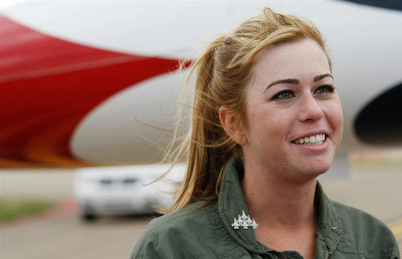 PITTSBURGH - SEPTEMBER 09:  2010 Women's US Open Champion Paula Creamer smiles after flying in an F-16 with the U.S. Air Force Thunderbirds on September 9, 2010 at the Air Force Reserve Base in Pittsburgh, Pennsylvania.  (Photo by Jared Wickerham/Getty Images)