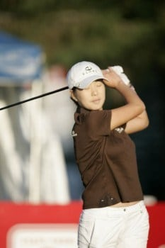 Shi Hyun Ahn hits off of the first tee during the final round of the 30th Anniversary State Farm Classic at The Rail Golf Club in Springfield, Illinois September 4, 2005.Photo by Warren Wimmer/WireImage.com