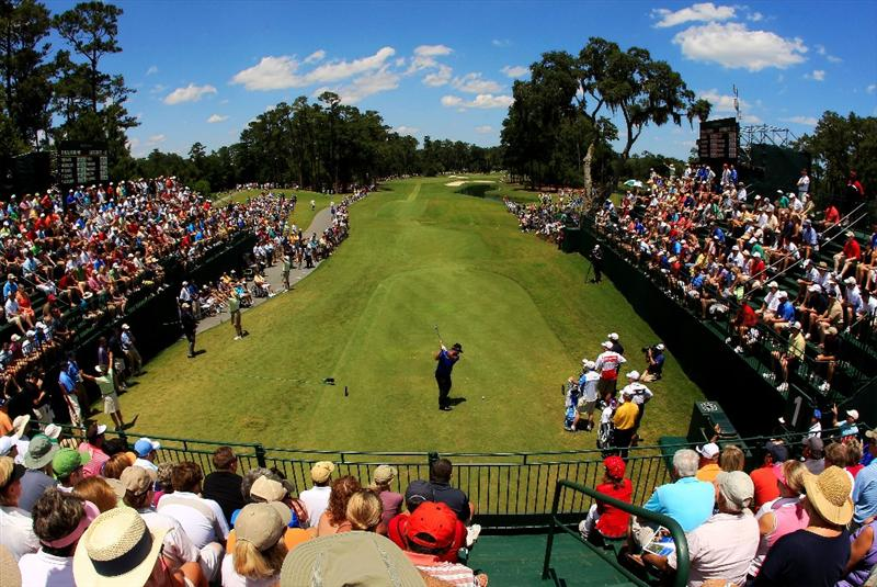 PONTE VEDRA BEACH, FL - MAY 15:  K.J. Choi of South Korea hits his tee shot on the first hole during the final round of THE PLAYERS Championship held at THE PLAYERS Stadium course at TPC Sawgrass on May 15, 2011 in Ponte Vedra Beach, Florida.  (Photo by Streeter Lecka/Getty Images)