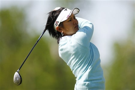 BROKEN ARROW, OK - MAY 03: Ai Miyazato of Japan hits a tee shot on the 2nd hole during the third round of the SemGroup Championship presented by John Q. Hammons on May 3, 2008 at Cedar Ridge Country Club in Broken Arrow, Oklahoma. (Photo by G. Newman Lowrance/Getty Images)