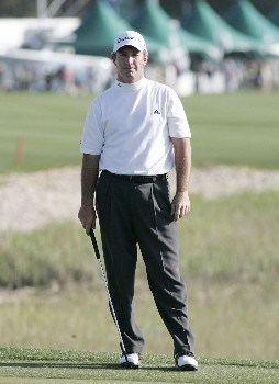 Peter Lonard relaxes after a 7-under-par 75 in the final round to claim the MCI Heritage at Harbour Town Golf Links April 17, 2005, at Hilton Head Island.Photo by Kevin Cox/WireImage.com